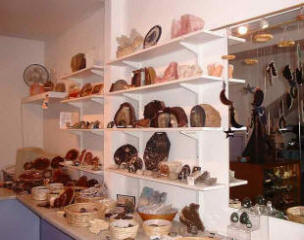 The shelves at The Gem Den are stacked with Fossils, Minerals and Jewellery.